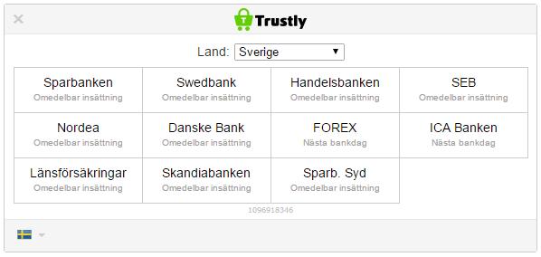 Banker anslutna till Trustly
