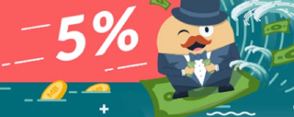 Spela riskfritt och få tillbaka 5% av allt du spelar