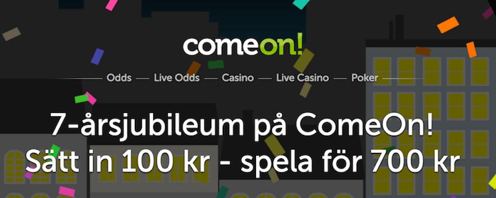 Sätt in 100 kr - Spela för 700kr hos ComeOn!