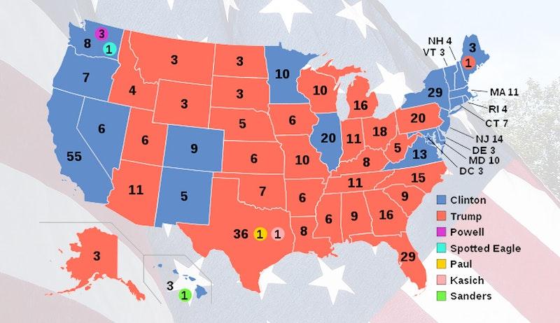 Karta över senaste valets elektorröster