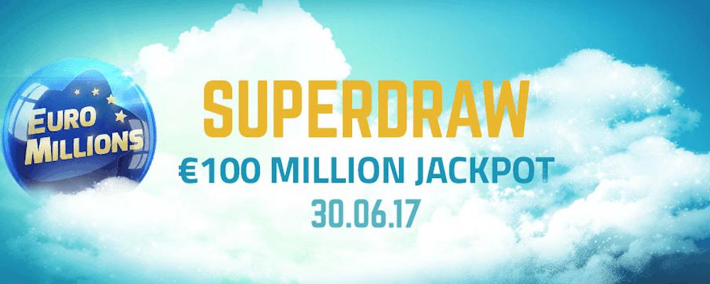 Superdragning med €100 miljoner i potten hos Euro Millions