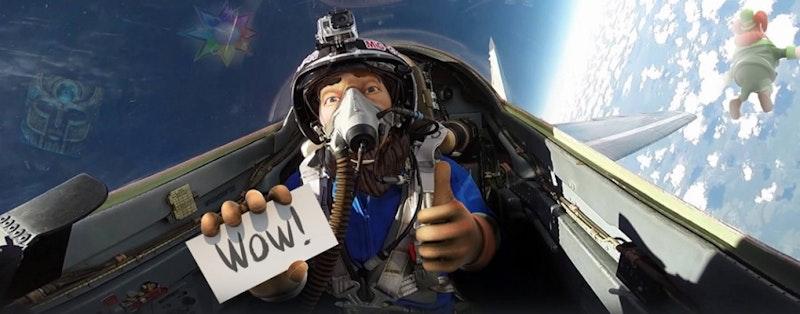 Vinn flygtur till jordens atmosfär med ett stridsflygplan