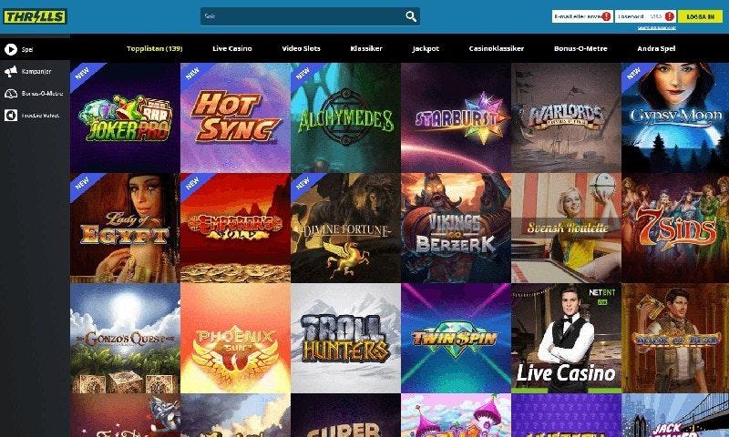Populäraste Casinot i Februari 2017: Thrills Casino