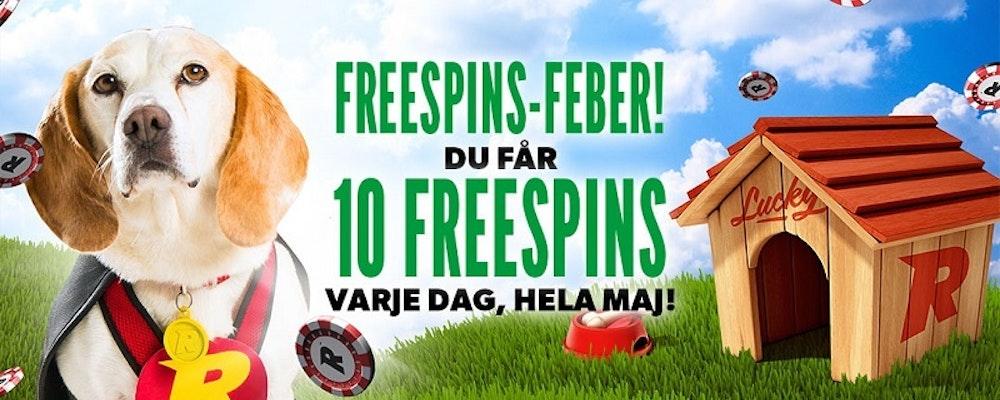 Nya spelare får 10 Free Spins varje dag hela Maj hos Rizk