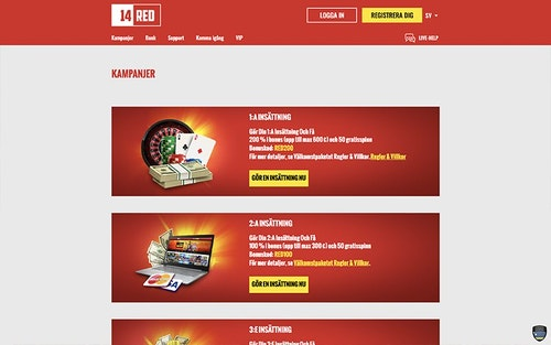 14Red Casino Bonus