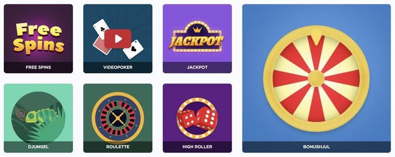 Sir Jackpot har mängder av spelkategorier