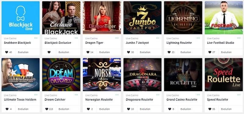 Livecasinospel såsom blackjack, roulette och många fler
