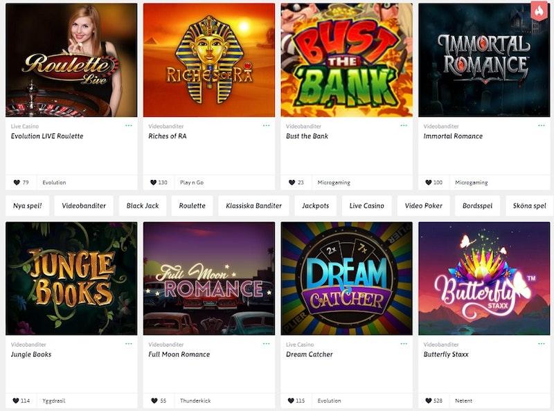 Snabbare casinoutbud med massor av slots